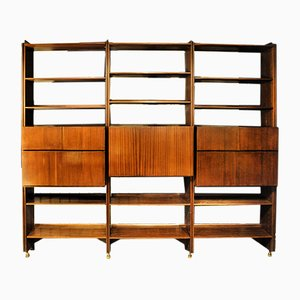 Vintage Italian Bookcase with Doors, Bar Cabinet, & Drawers, 1950s