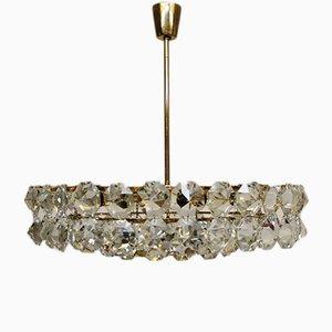 Lámpara de araña Mid-Century de cristal y estructura dorada de Bakalowits & Söhne, años 60