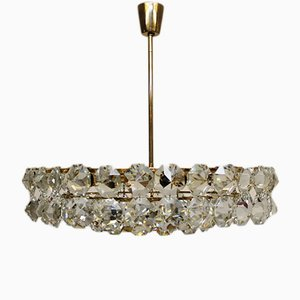 Mid-Century Gilded Leaded Crystal Chandelier from Bakalowits & Söhne, 1960s