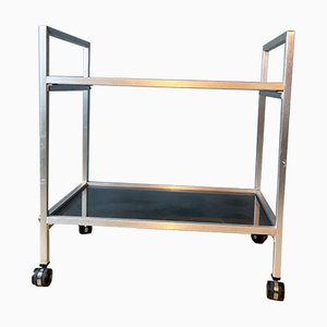 Vintage Brushed Aluminium & Smoked Glass Bar Cart, 1970s