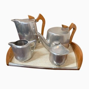 Vintage Tea & Coffee Set on Tray from Pisquot Ware