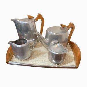Vintage Tee- und Kaffeegeschirr auf einem Tablett von Pisquot Ware
