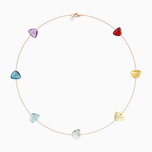 18k Solid Rose Gold Crystal Link Necklace with 7 Rainbow Color Natural Gemstones by Rebecca Li, 2018