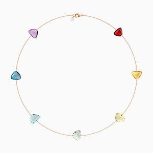 Collar Link de oro rosa macizo de 18 quilates con siete gemas naturales en los colores del arco iris de Rebecca Li, 2018