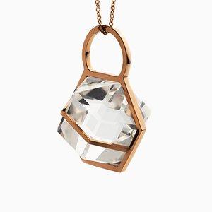 Six Senses Talisman Halskette aus massivem 18k Rose Gold mit natürlichem Kristallglasgestein von Rebecca Li, 2018
