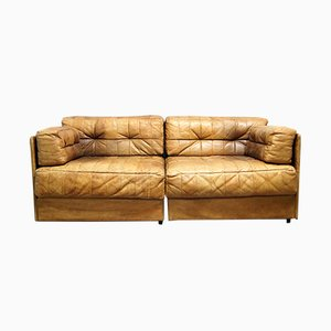 Cognac Leather Patchwork Modular Sofa, 1970s