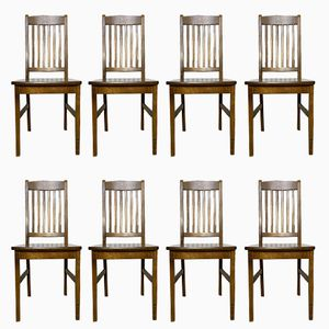 Vintage Birch Dining Chairs, Set of 8