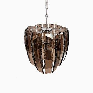 Lámpara colgante vintage de metal cromado y cristal de Murano, años 70