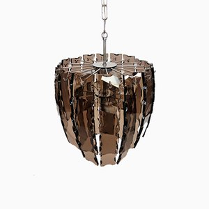 Lampe à Suspension Vintage en Chrome et Verre Murano, 1970s