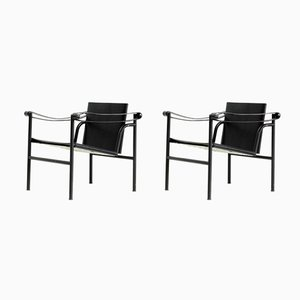 Vintage Lc1 Black Editon Chairs by Le Corbusier for Cassina, Set of 2