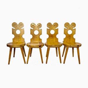 Schwedische Mid-Century Stühle aus Pinienholz, 4er Set