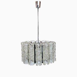 Lámpara de araña vintage de cristal de Murano y metal cromado, años 70