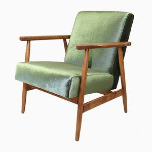Vintage Green Velvet Easy Armchair, 1970s