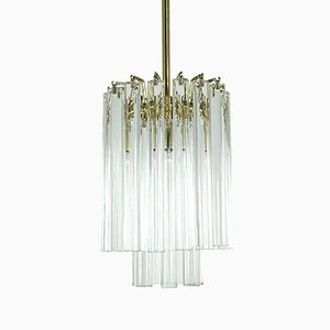 Lampadario Hollywood Regency in ottone, anni '70