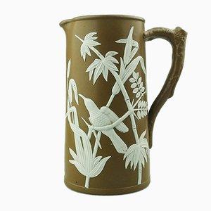 Antiker englischer Krug mit tropischem Vogel-Motiv von Dudson, 1870er