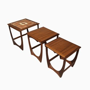 Mid-Century Teak & Ceramic Tile Nesting Tables from G-Plan