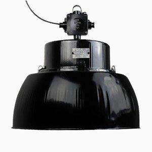 Lampe à Suspension d'Usine Modèle OPR-125E Noire Vintage, 1960s