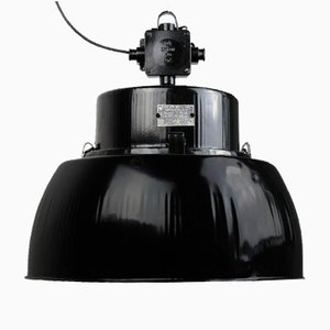 Vintage Model OPR-125E Black Factory Pendant Lamp, 1960s
