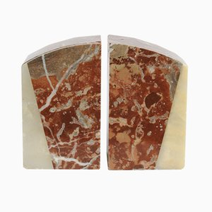 Art Deco Red Marble Bookends, 1930s, Set of 2