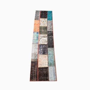 Bunter Mid-Century Patchwork Kelim Teppich aus Wolle, 1950er