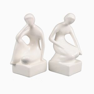 Vintage Ceramic Figural Bookends, 1970s, Set of 2
