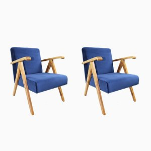 Vintage Blue Velvet Armchairs, 1970s, Set of 2