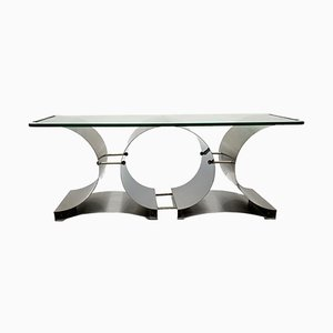 Mid-Century French Stainless Steel & Glass Coffee Table by Francois Monnet, 1970s