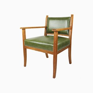 Vintage Green Leather Armchair, 1960s