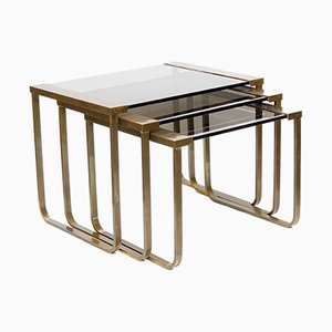 Vintage Satin Brass & Smoked Glass Nesting Tables, 1970s, Set of 3