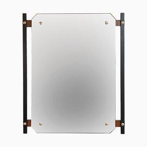 Specchio vintage in legno, metallo ed ottone di Meregalli & Radaelli, anni '60