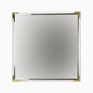 Angeschrägter quadratischer Vintage Spiegel aus Plexiglas, 1970er