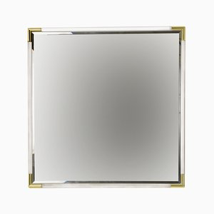 Vintage Lucite Square Bevelled Mirror, 1970s