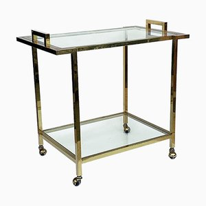 Vintage Gilded Brass & Glass Trolley by Romeo Rega, 1980s