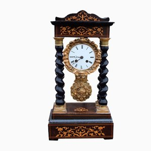 Large Antique Portico Mantle Clock with Marquetry Inlay