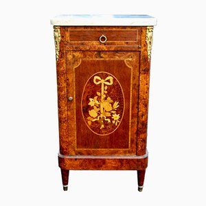 Antique Walnut Cabinet with Marble Top, 1860s