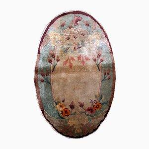 Alfombra china Art Déco oval hecha a mano, años 20