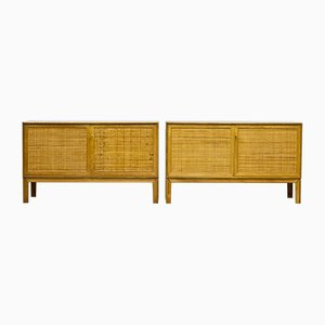 Teak, Oak & Rattan Sideboards by Alf Svensson for Bjästa Möbelfabrik, 1960s, Set of 2