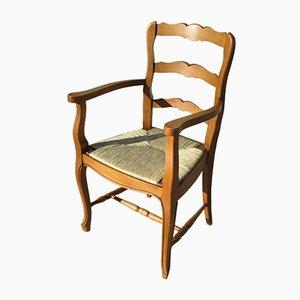 Französischer Armlehnstuhl mit Gestell aus Buche & Sitz aus Strohgeflecht, 1980er