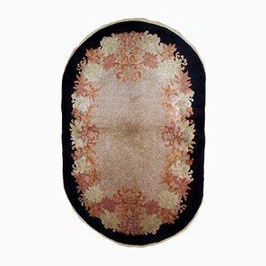 Ovaler handgeknüpfter chinesischer Art Deco Teppich, 1920er