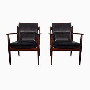 Modell 341 Sessel mit Gestell aus Mahagoni von Arne Vodder für Sibast Møbler, 1960er, 2er Set