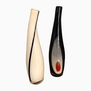 Vasi Mid-Century in vetro di Murano a forma di bottiglia, anni '70, set di 2