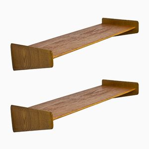 Swedish Teak & Oak Wall Shelves, 1950s, Set of 2