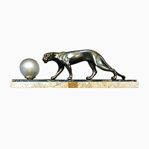 Panther Skulptur-Tischlampe von M. Fonds, 1930er