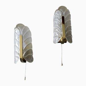 Applique in vetro smerigliato e ottone di Carl Fagerlund per Orrefors, anni '60, set di 2