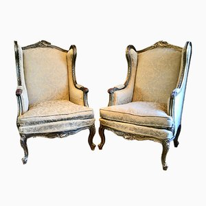 19th Century French Louis XV Wingback Armchairs, Set of 2