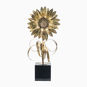 Large Lacquered Brass Sunflower Table Lamp from Maison Jansen, 1970s