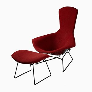 Poltrona Bird con poggiapiedi di Harry Bertoia per Knoll International, anni '50