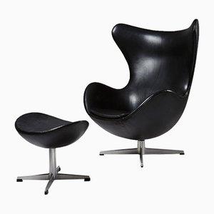 Danish Egg Armchair & Footstool by Arne Jacobsen for Fritz Hansen, 1958