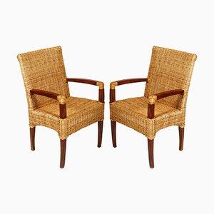 Französische Art Deco Stühle aus Nussholz & Rattan 1930er, 2er Set