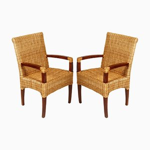 French Art Deco Walnut & Rattan Chairs, 1930s, Set of 2